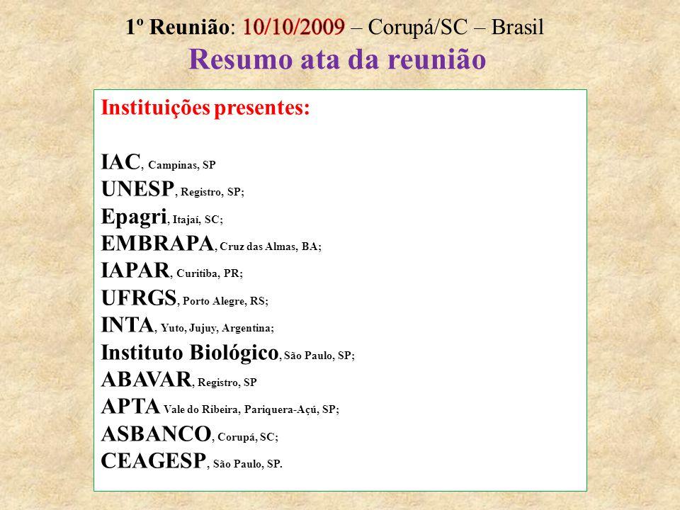 Instituições presentes: IAC, Campinas, SP UNESP, Registro, SP; Epagri, Itajaí, SC; EMBRAPA, Cruz das Almas, BA; IAPAR, Curitiba, PR; UFRGS, Porto Aleg