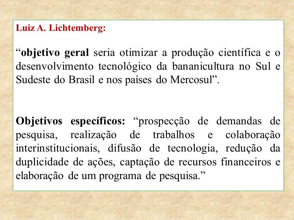 """Luiz A. Lichtemberg: """"objetivo geral seria otimizar a produção científica e o desenvolvimento tecnológico da bananicultura no Sul e Sudeste do Brasil"""