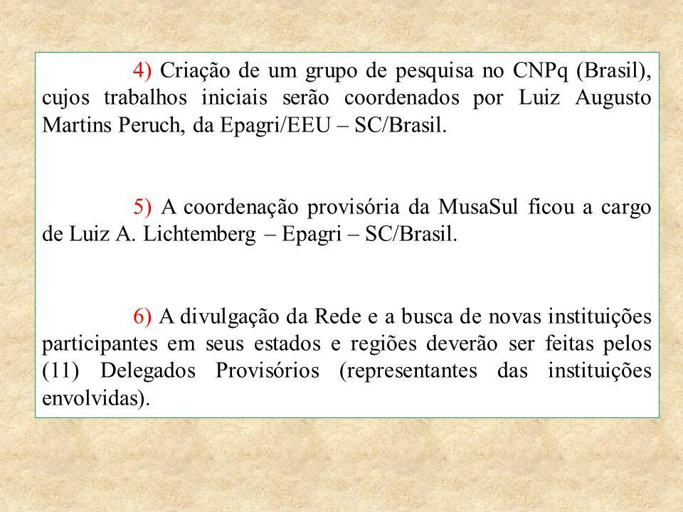 4) Criação de um grupo de pesquisa no CNPq (Brasil), cujos trabalhos iniciais serão coordenados por Luiz Augusto Martins Peruch, da Epagri/EEU – SC/Br