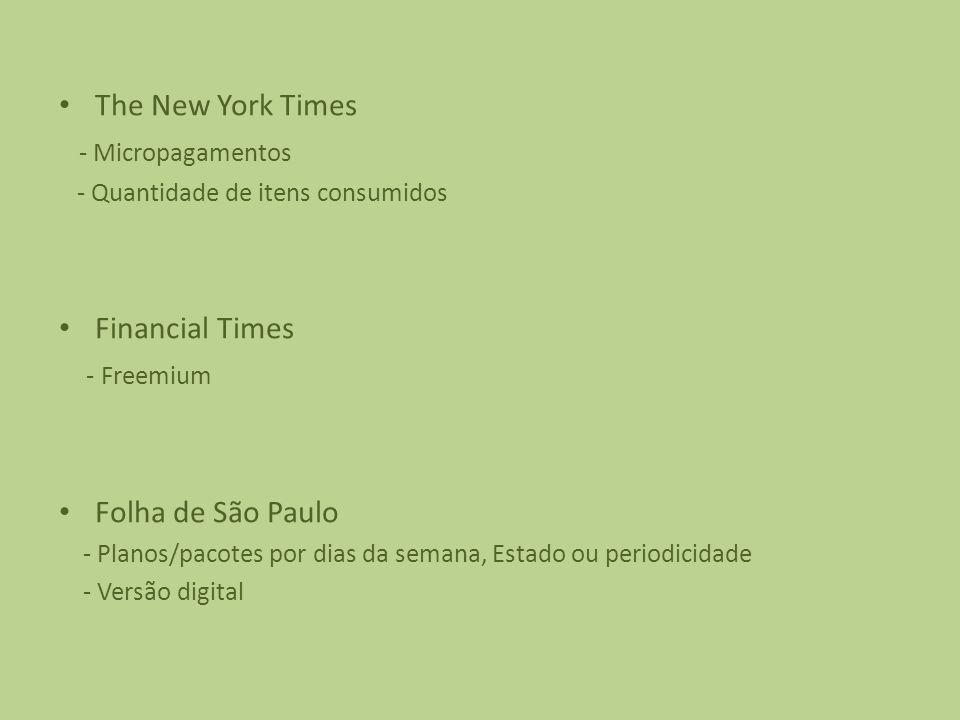 The New York Times - Micropagamentos - Quantidade de itens consumidos Financial Times - Freemium Folha de São Paulo - Planos/pacotes por dias da semana, Estado ou periodicidade - Versão digital