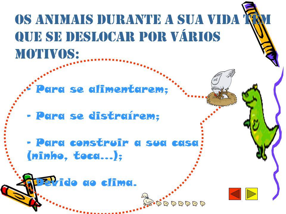 Os animais durante a sua vida têm que se deslocar por vários motivos: - Para se alimentarem; - Para se distraírem; - Para construir a sua casa (ninho, toca...); - Devido ao clima.