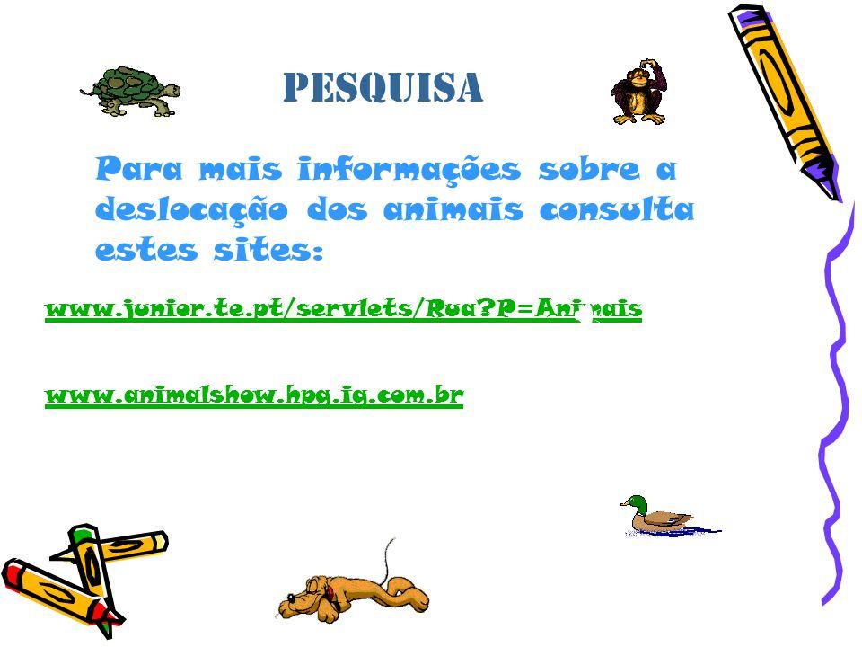 Pesquisa Para mais informações sobre a deslocação dos animais consulta estes sites: www.junior.te.pt/servlets/Rua?P=Animais www.animalshow.hpg.ig.com.br