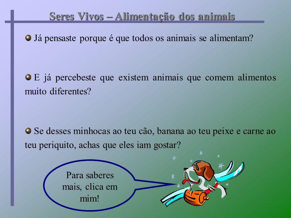 Já pensaste porque é que todos os animais se alimentam? E já percebeste que existem animais que comem alimentos muito diferentes? Se desses minhocas a