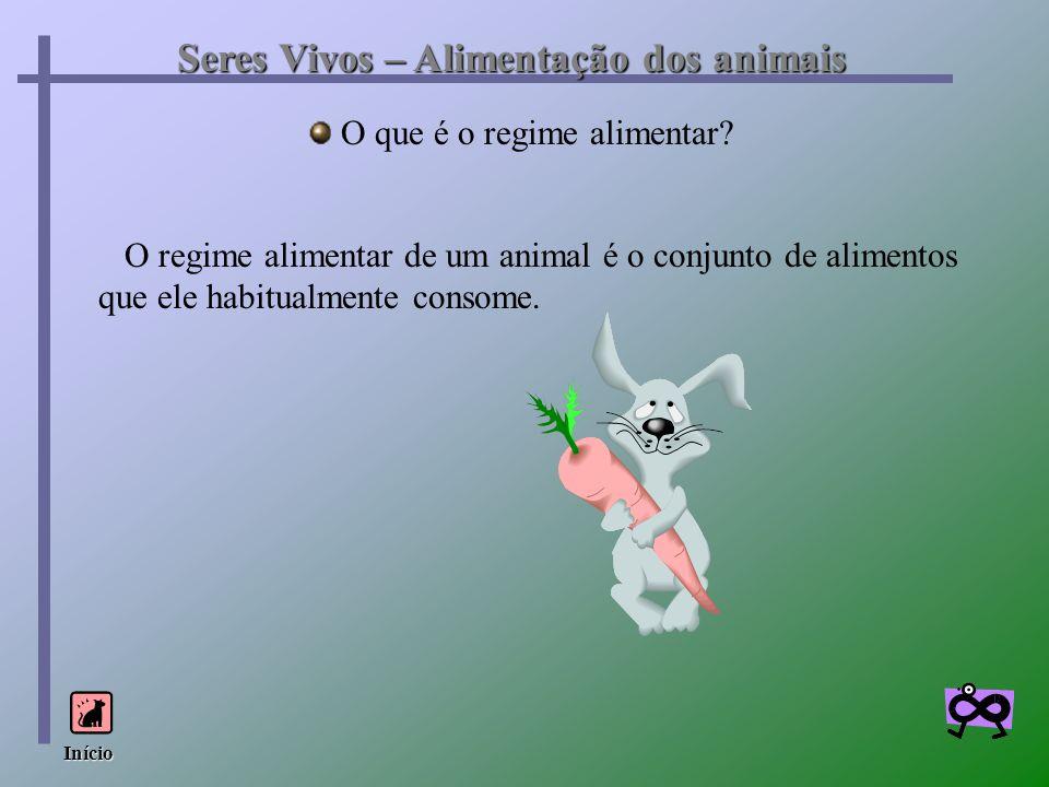 Seres Vivos – Alimentação dos animais O que é o regime alimentar? O regime alimentar de um animal é o conjunto de alimentos que ele habitualmente cons