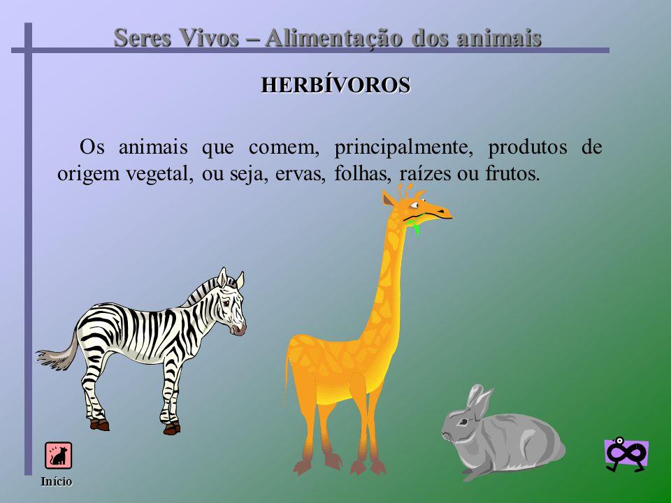 HERBÍVOROS Seres Vivos – Alimentação dos animais Os animais que comem, principalmente, produtos de origem vegetal, ou seja, ervas, folhas, raízes ou f