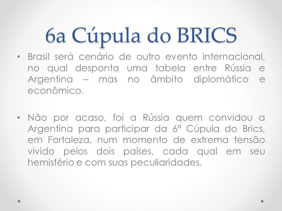 6a Cúpula do BRICS Brasil será cenário de outro evento internacional, no qual desponta uma tabela entre Rússia e Argentina – mas no âmbito diplomático e econômico.