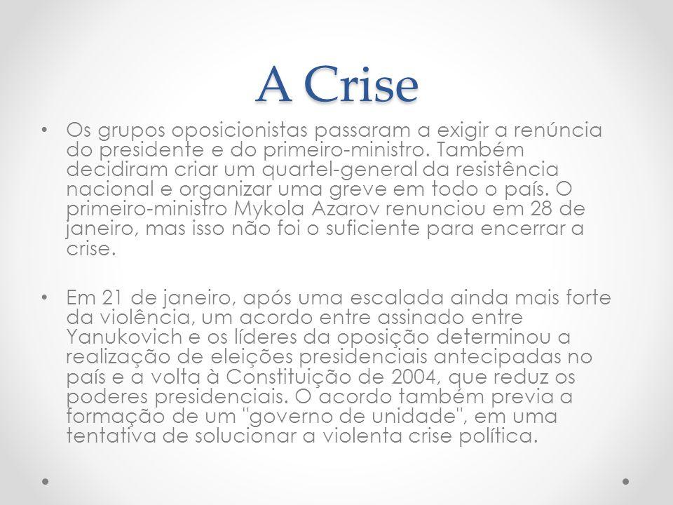 A Crise Os grupos oposicionistas passaram a exigir a renúncia do presidente e do primeiro-ministro.