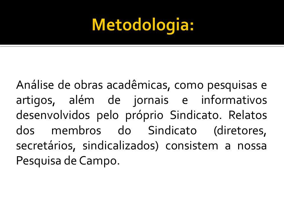 Análise de obras acadêmicas, como pesquisas e artigos, além de jornais e informativos desenvolvidos pelo próprio Sindicato. Relatos dos membros do Sin