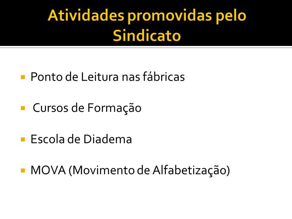 Ponto de Leitura nas fábricas  Cursos de Formação  Escola de Diadema  MOVA (Movimento de Alfabetização)