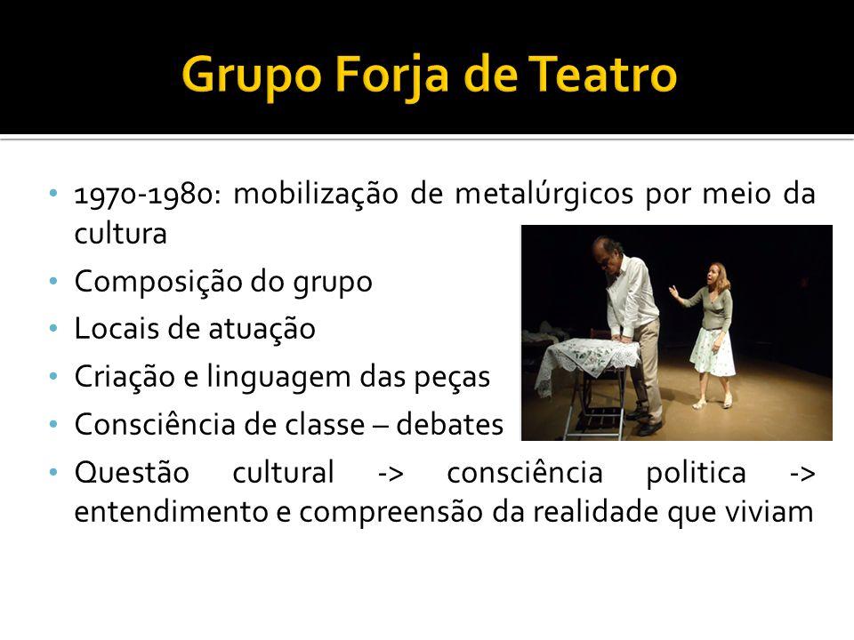 1970-1980: mobilização de metalúrgicos por meio da cultura Composição do grupo Locais de atuação Criação e linguagem das peças Consciência de classe –