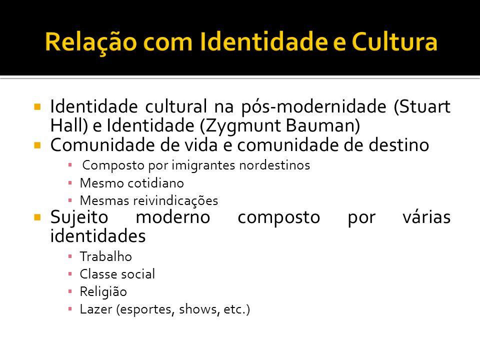  Identidade cultural na pós-modernidade (Stuart Hall) e Identidade (Zygmunt Bauman)  Comunidade de vida e comunidade de destino ▪ Composto por imigr