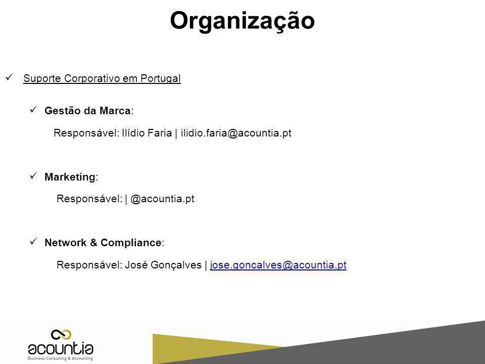Organização Suporte Corporativo em Portugal Gestão da Marca: Responsável: Ilídio Faria | ilidio.faria@acountia.pt Marketing: Responsável: | @acountia.