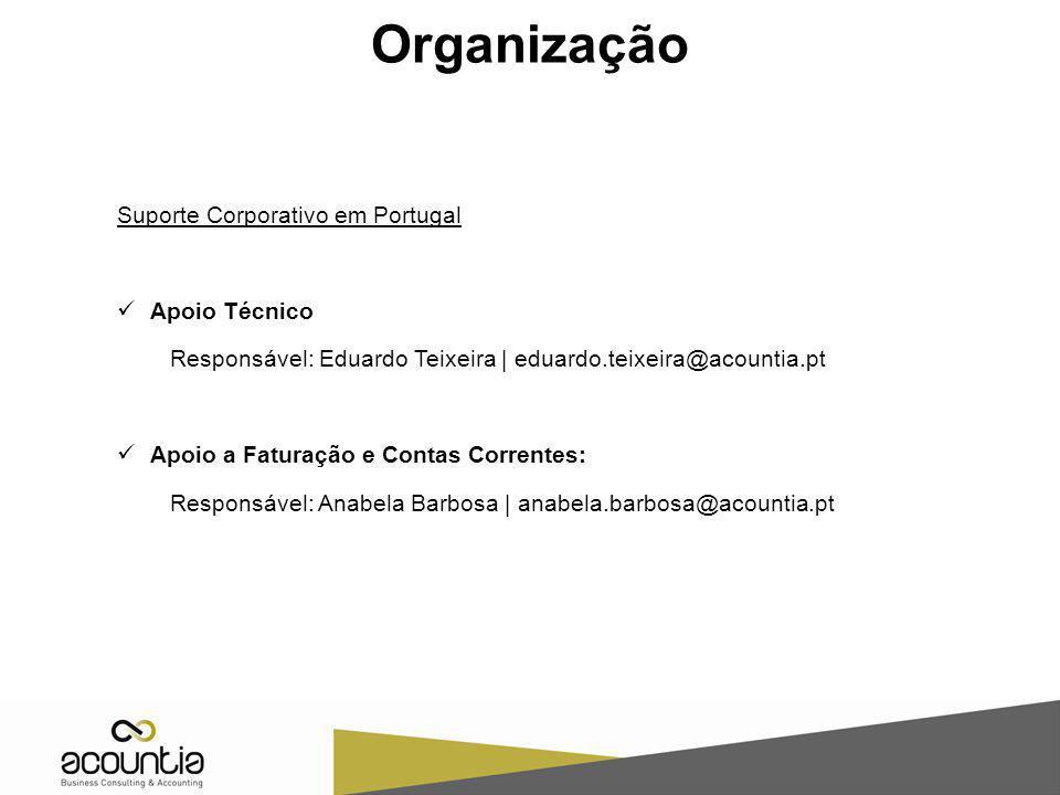 Suporte Corporativo em Portugal Apoio Técnico Responsável: Eduardo Teixeira | eduardo.teixeira@acountia.pt Apoio a Faturação e Contas Correntes: Respo