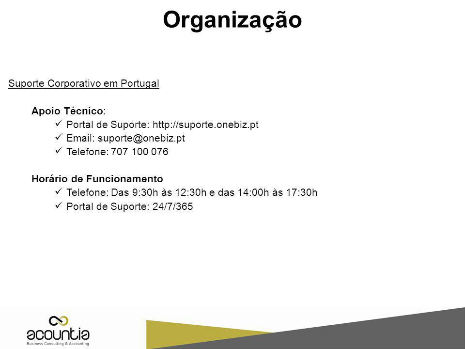 Suporte Corporativo em Portugal Apoio Técnico: Portal de Suporte: http://suporte.onebiz.pt Email: suporte@onebiz.pt Telefone: 707 100 076 Horário de F