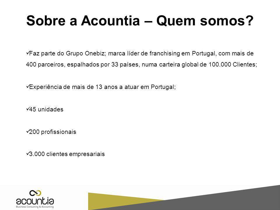 Sobre a Acountia – Quem somos? Faz parte do Grupo Onebiz; marca líder de franchising em Portugal, com mais de 400 parceiros, espalhados por 33 países,