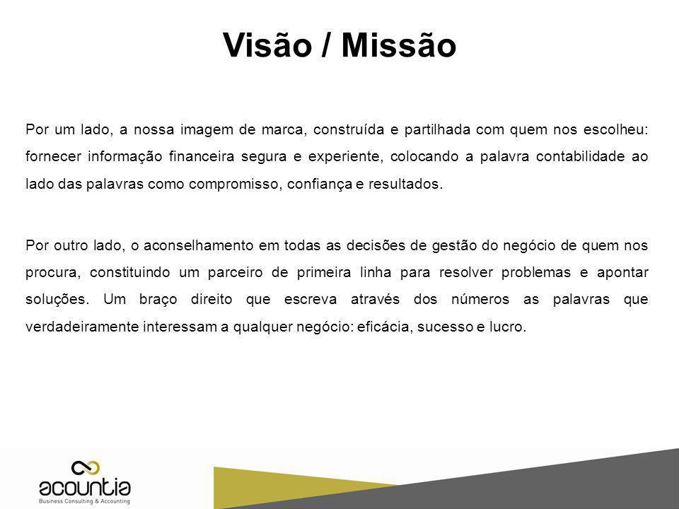 Visão / Missão Por um lado, a nossa imagem de marca, construída e partilhada com quem nos escolheu: fornecer informação financeira segura e experiente