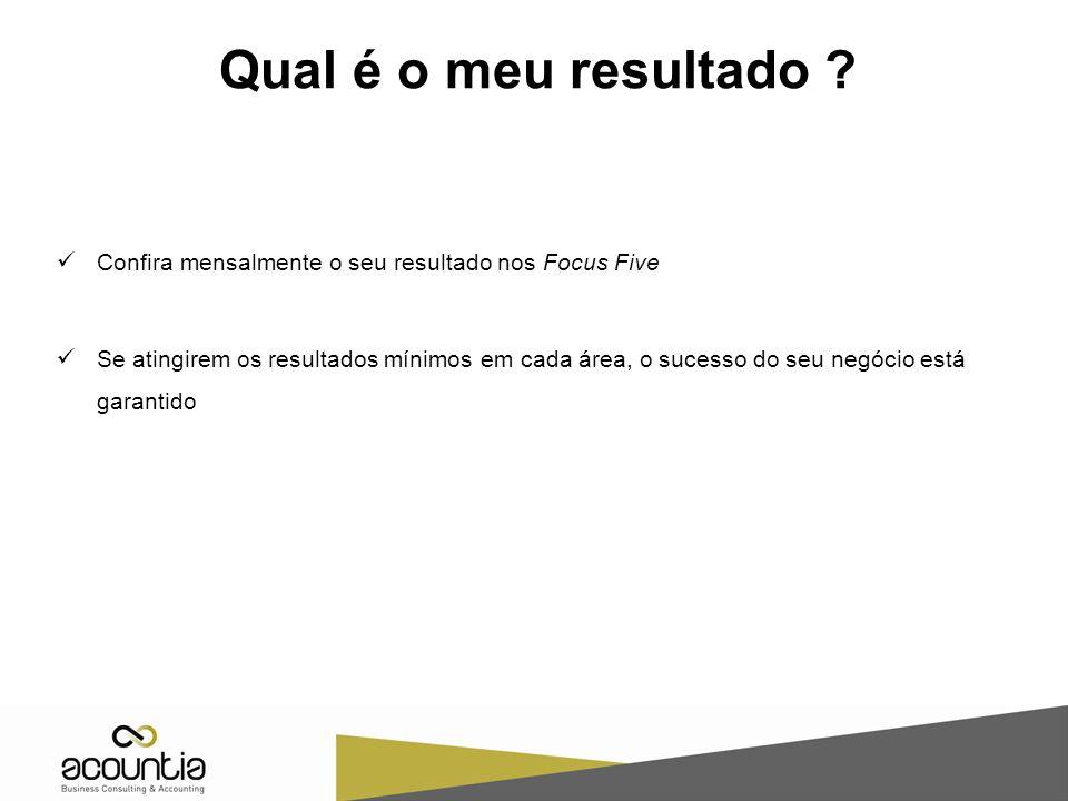 Qual é o meu resultado ? Confira mensalmente o seu resultado nos Focus Five Se atingirem os resultados mínimos em cada área, o sucesso do seu negócio