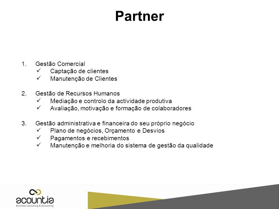 Partner 1.Gestão Comercial Captação de clientes Manutenção de Clientes 2.Gestão de Recursos Humanos Mediação e controlo da actividade produtiva Avalia