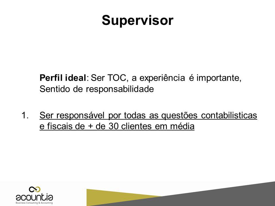 Supervisor Perfil ideal: Ser TOC, a experiência é importante, Sentido de responsabilidade 1.Ser responsável por todas as questões contabilisticas e fi