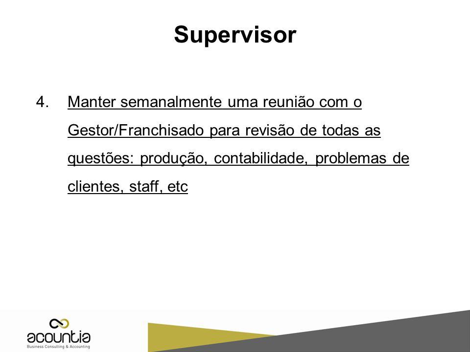 4.Manter semanalmente uma reunião com o Gestor/Franchisado para revisão de todas as questões: produção, contabilidade, problemas de clientes, staff, e
