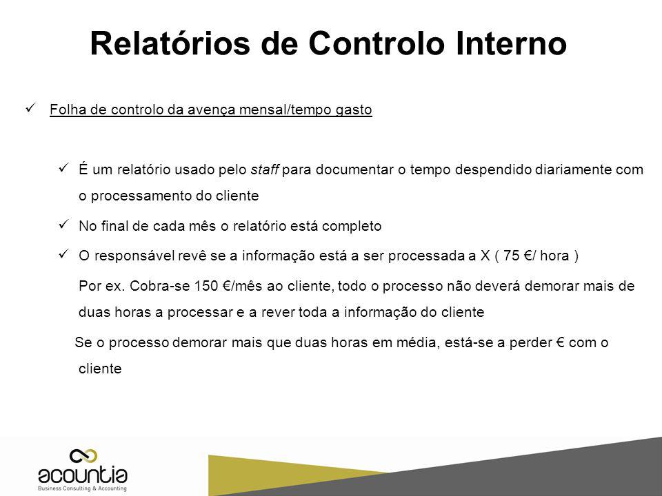 Relatórios de Controlo Interno Folha de controlo da avença mensal/tempo gasto É um relatório usado pelo staff para documentar o tempo despendido diari