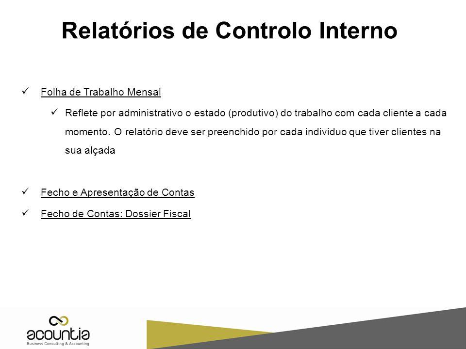 Relatórios de Controlo Interno Folha de Trabalho Mensal Reflete por administrativo o estado (produtivo) do trabalho com cada cliente a cada momento. O