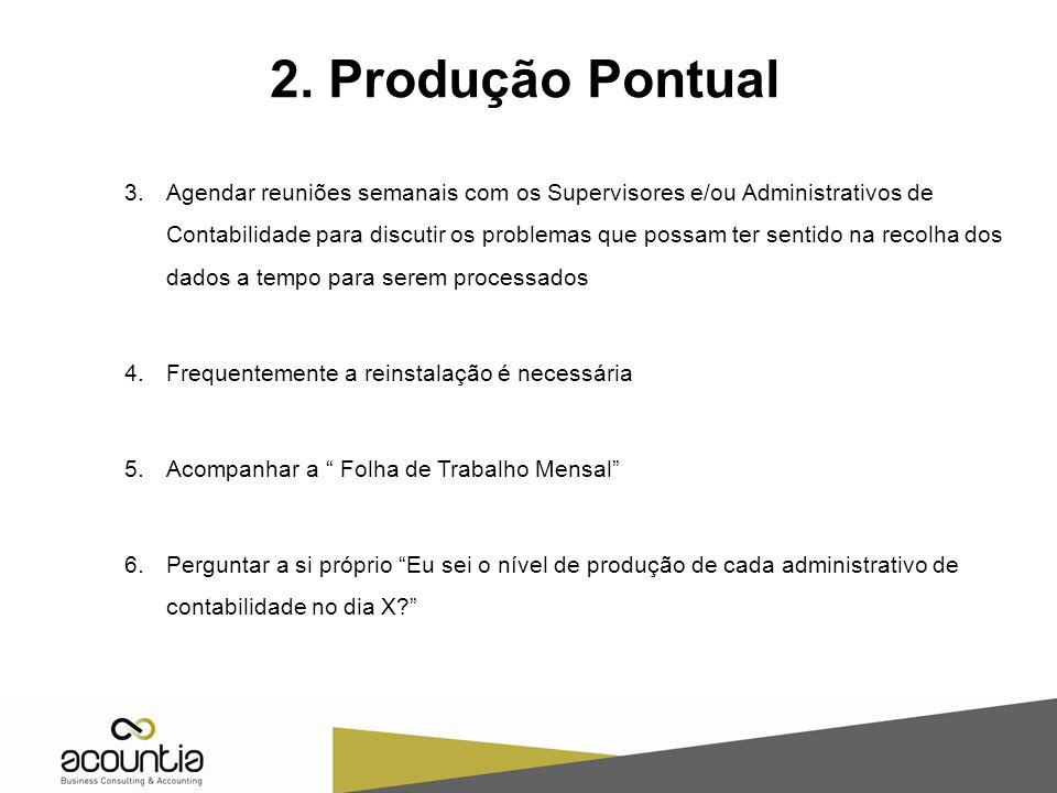 3.Agendar reuniões semanais com os Supervisores e/ou Administrativos de Contabilidade para discutir os problemas que possam ter sentido na recolha dos