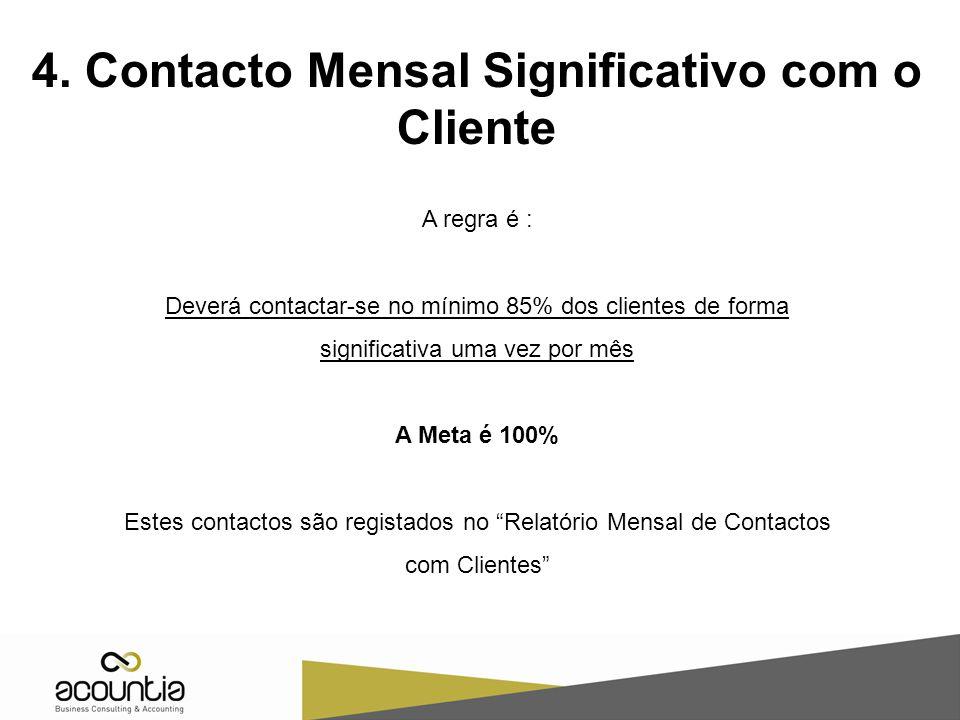 4. Contacto Mensal Significativo com o Cliente A regra é : Deverá contactar-se no mínimo 85% dos clientes de forma significativa uma vez por mês A Met