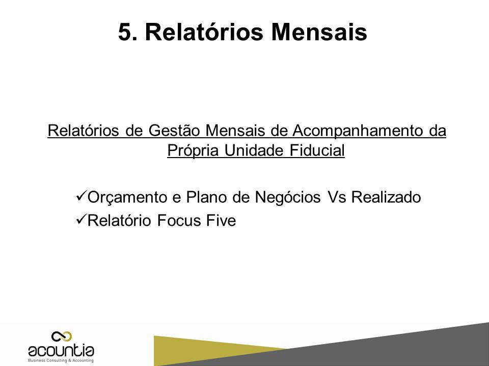 5. Relatórios Mensais Relatórios de Gestão Mensais de Acompanhamento da Própria Unidade Fiducial Orçamento e Plano de Negócios Vs Realizado Relatório