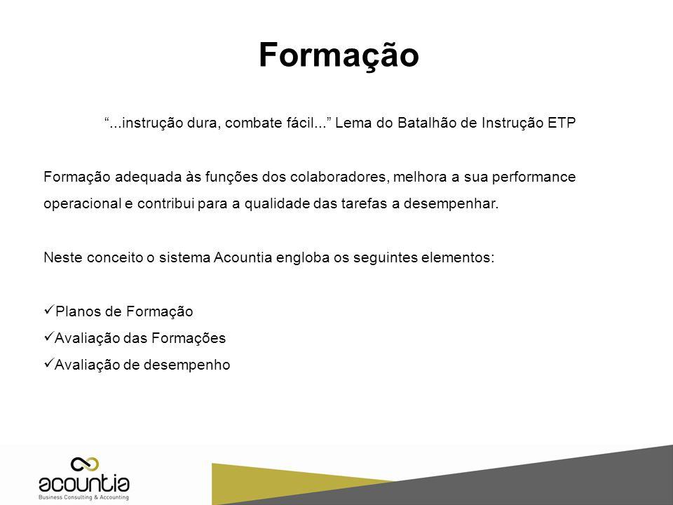 """Formação """"...instrução dura, combate fácil..."""" Lema do Batalhão de Instrução ETP Formação adequada às funções dos colaboradores, melhora a sua perform"""
