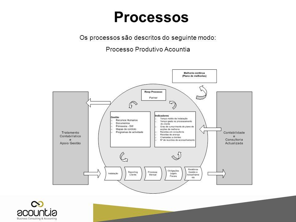 Processos Os processos são descritos do seguinte modo: Processo Produtivo Acountia