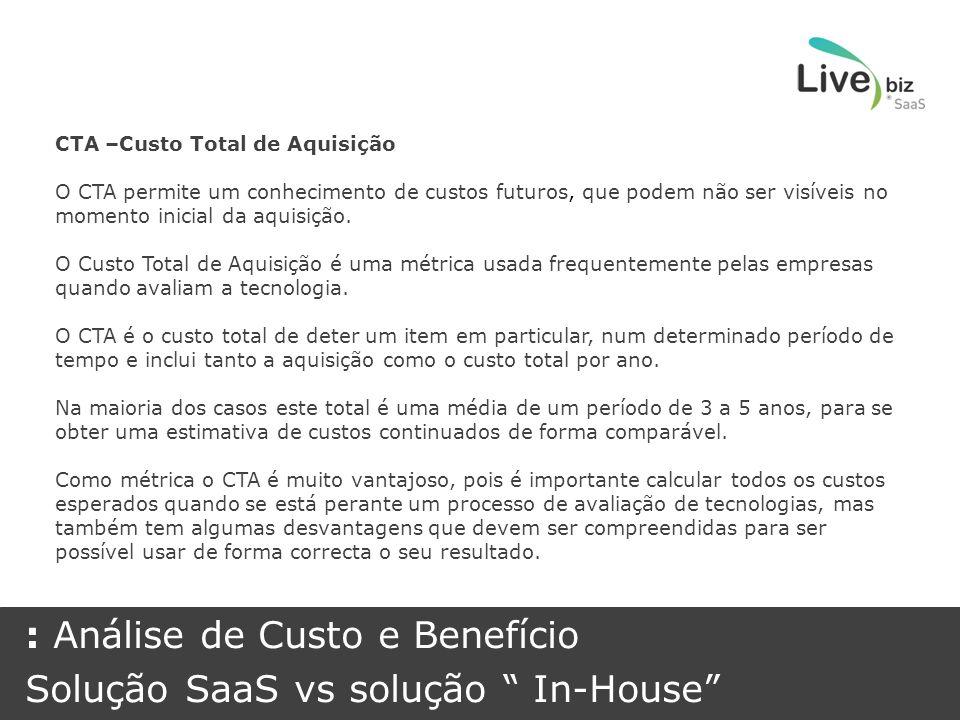 CTA –Custo Total de Aquisição O CTA permite um conhecimento de custos futuros, que podem não ser visíveis no momento inicial da aquisição.
