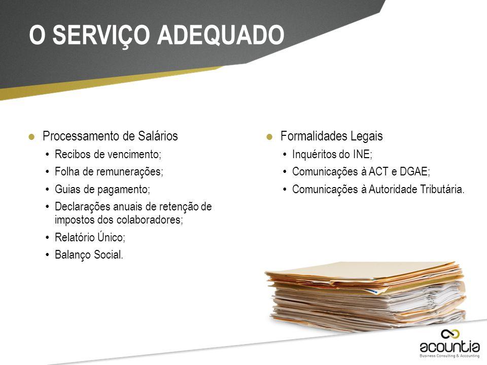 ● Processamento de Salários Recibos de vencimento; Folha de remunerações; Guias de pagamento; Declarações anuais de retenção de impostos dos colaborad