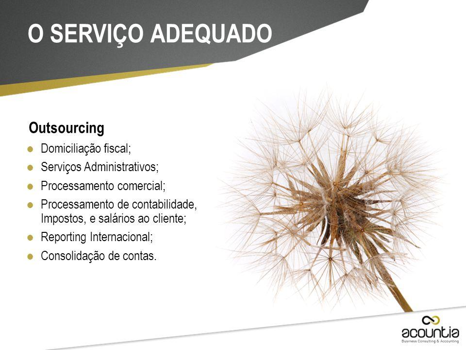 Outsourcing ● Domiciliação fiscal; ● Serviços Administrativos; ● Processamento comercial; ● Processamento de contabilidade, Impostos, e salários ao cl