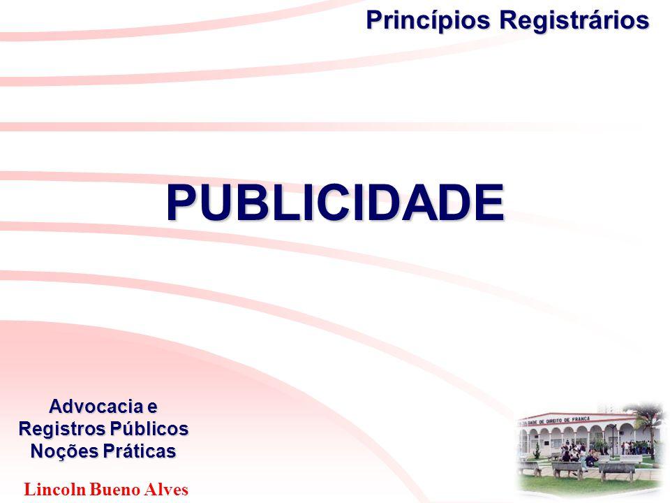 Lincoln Bueno Alves Advocacia e Registros Públicos Noções Práticas Princípios Registrários PUBLICIDADE