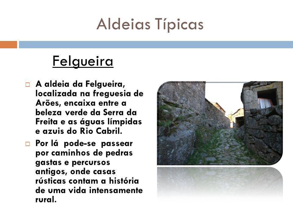 Aldeias Típicas  A aldeia da Felgueira, localizada na freguesia de Arões, encaixa entre a beleza verde da Serra da Freita e as águas límpidas e azuis