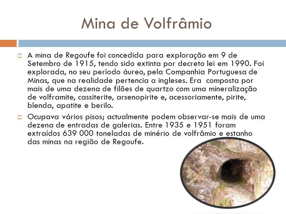 Mina de Volfrâmio  A mina de Regoufe foi concedida para exploração em 9 de Setembro de 1915, tendo sido extinta por decreto lei em 1990. Foi explorad