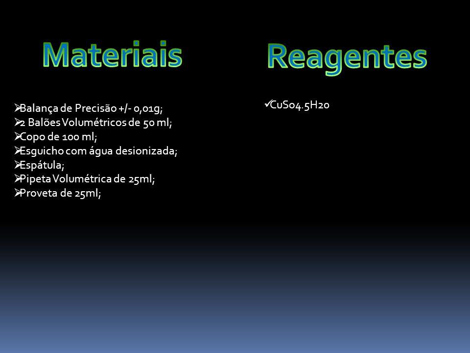  Balança de Precisão +/- 0,01g;  2 Balões Volumétricos de 50 ml;  Copo de 100 ml;  Esguicho com água desionizada;  Espátula;  Pipeta Volumétrica