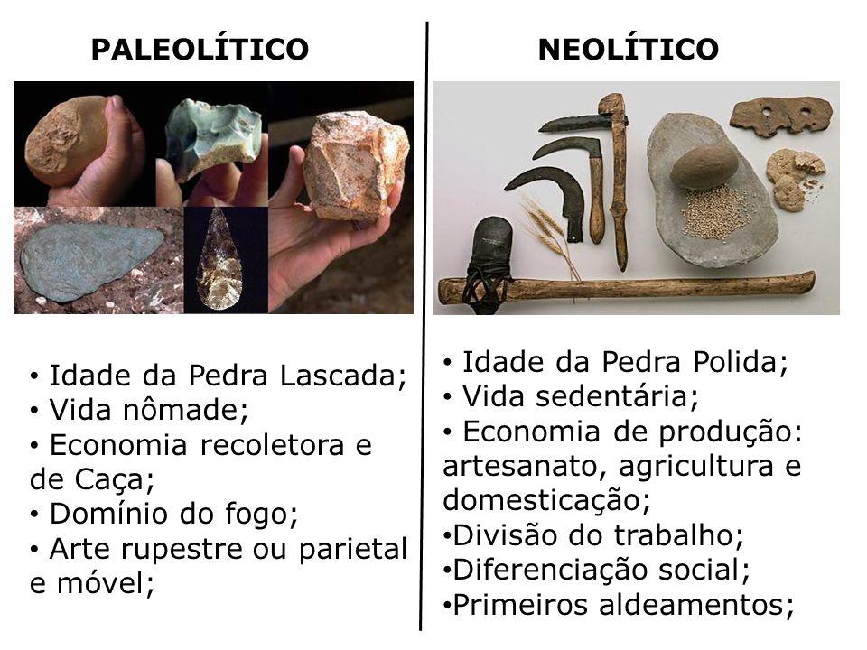 PALEOLÍTICONEOLÍTICO Idade da Pedra Lascada; Vida nômade; Economia recoletora e de Caça; Domínio do fogo; Arte rupestre ou parietal e móvel; Idade da