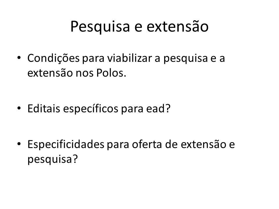 Pesquisa e extensão Condições para viabilizar a pesquisa e a extensão nos Polos.