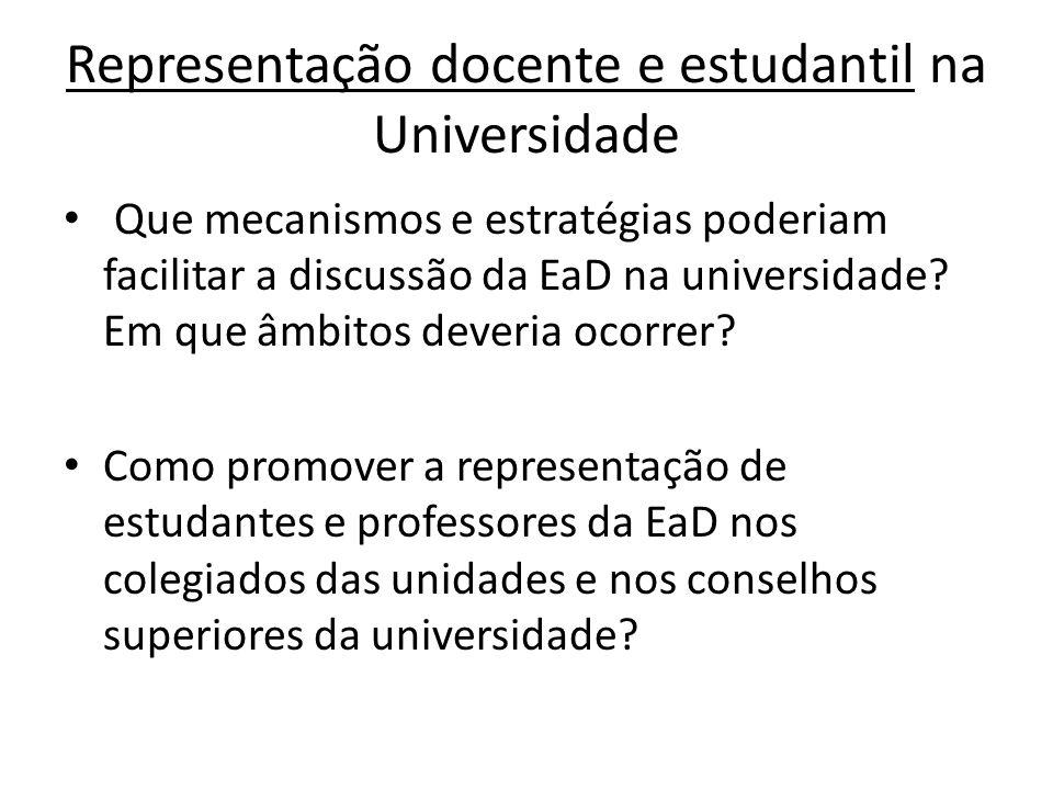 Representação docente e estudantil na Universidade Que mecanismos e estratégias poderiam facilitar a discussão da EaD na universidade.