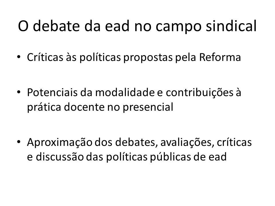 O debate da ead no campo sindical Críticas às políticas propostas pela Reforma Potenciais da modalidade e contribuições à prática docente no presencial Aproximação dos debates, avaliações, críticas e discussão das políticas públicas de ead