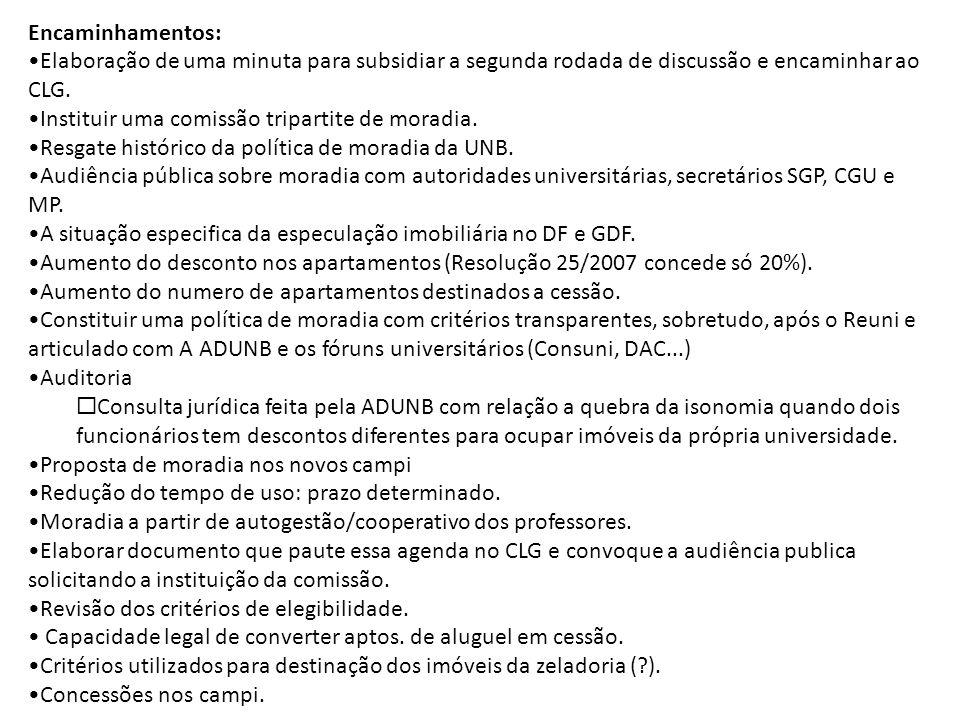 Encaminhamentos: Elaboração de uma minuta para subsidiar a segunda rodada de discussão e encaminhar ao CLG.