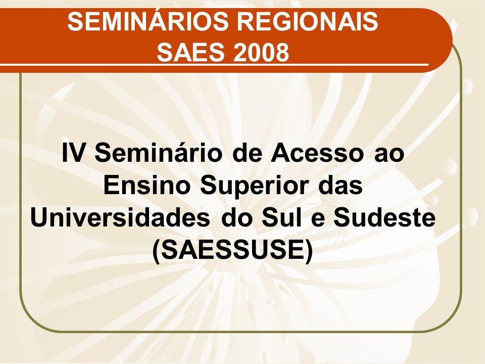 SEMINÁRIOS REGIONAIS SAES 2008 IV Seminário de Acesso ao Ensino Superior das Universidades do Sul e Sudeste (SAESSUSE)