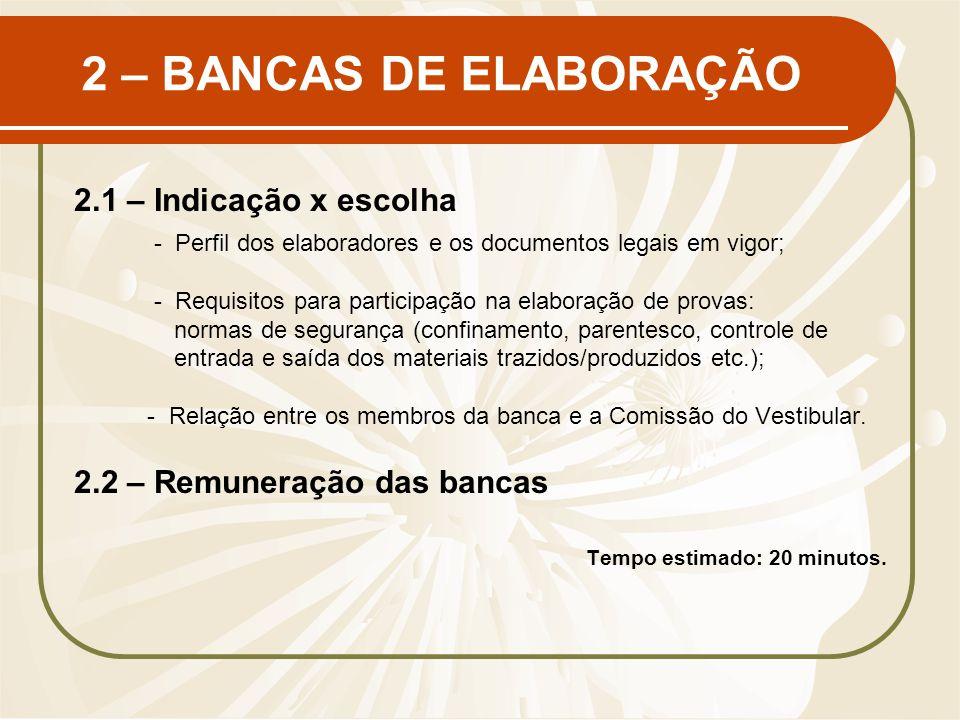 2 – BANCAS DE ELABORAÇÃO 2.1 – Indicação x escolha - Perfil dos elaboradores e os documentos legais em vigor; - Requisitos para participação na elabor