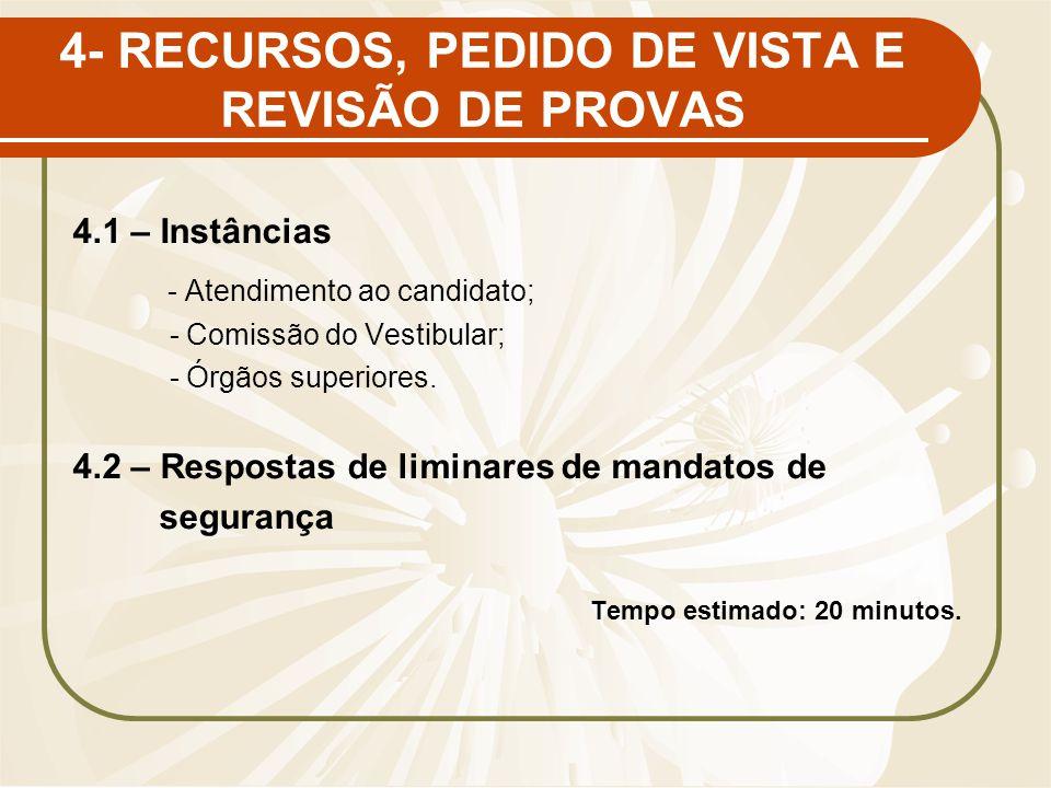 4- RECURSOS, PEDIDO DE VISTA E REVISÃO DE PROVAS 4.1 – Instâncias - Atendimento ao candidato; - Comissão do Vestibular; - Órgãos superiores. 4.2 – Res