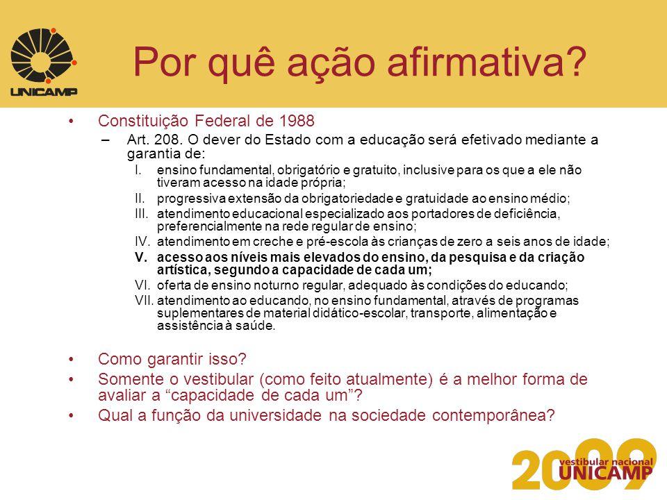 Por quê ação afirmativa? Constituição Federal de 1988 –Art. 208. O dever do Estado com a educação será efetivado mediante a garantia de: I.ensino fund