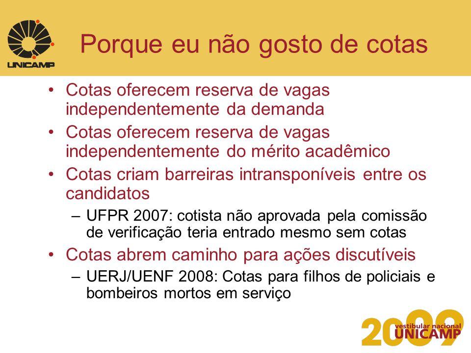 Experiência da Unicamp 1987 –Vestibular Nacional da Unicamp Proposta inédita no Brasil Definição de perfil desejado do estudante.