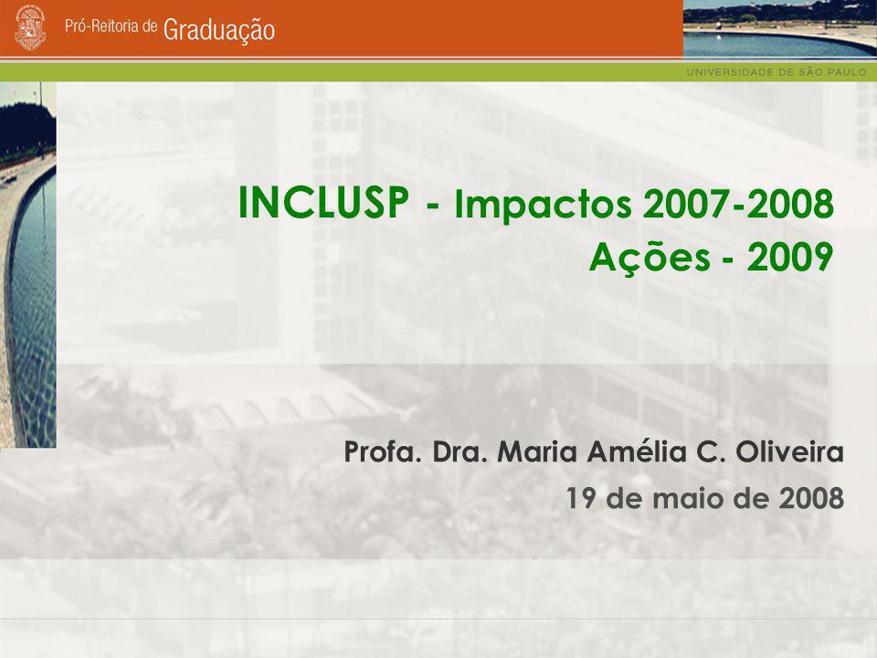 Profa. Dra. Maria Amélia C. Oliveira 19 de maio de 2008 INCLUSP - Impactos 2007-2008 Ações - 2009