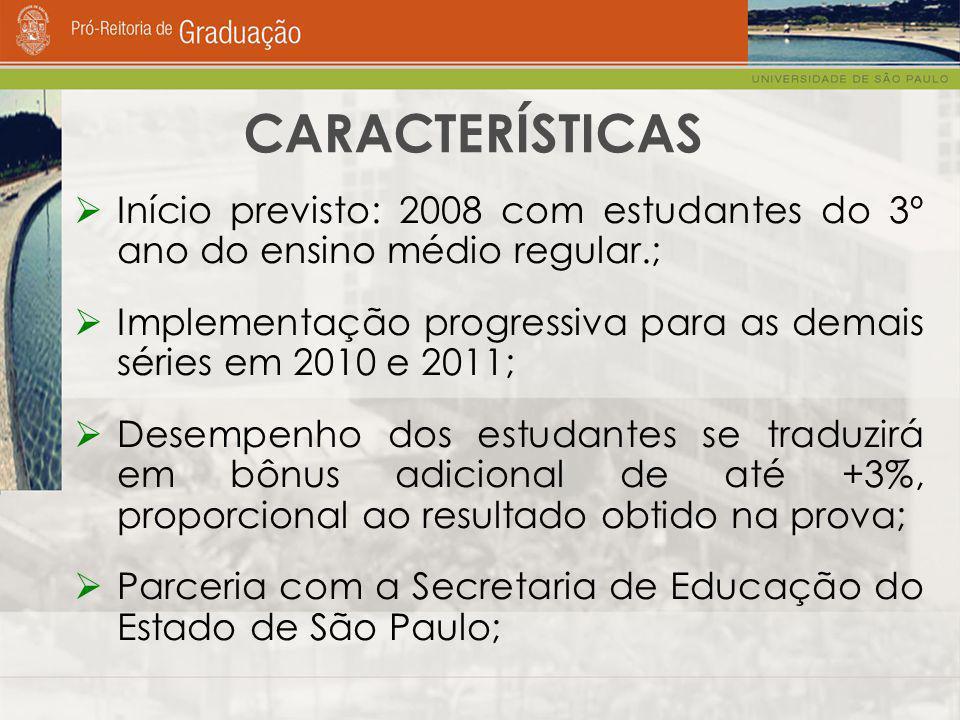 CARACTERÍSTICAS  Início previsto: 2008 com estudantes do 3º ano do ensino médio regular.;  Implementação progressiva para as demais séries em 2010 e 2011;  Desempenho dos estudantes se traduzirá em bônus adicional de até +3%, proporcional ao resultado obtido na prova;  Parceria com a Secretaria de Educação do Estado de São Paulo;